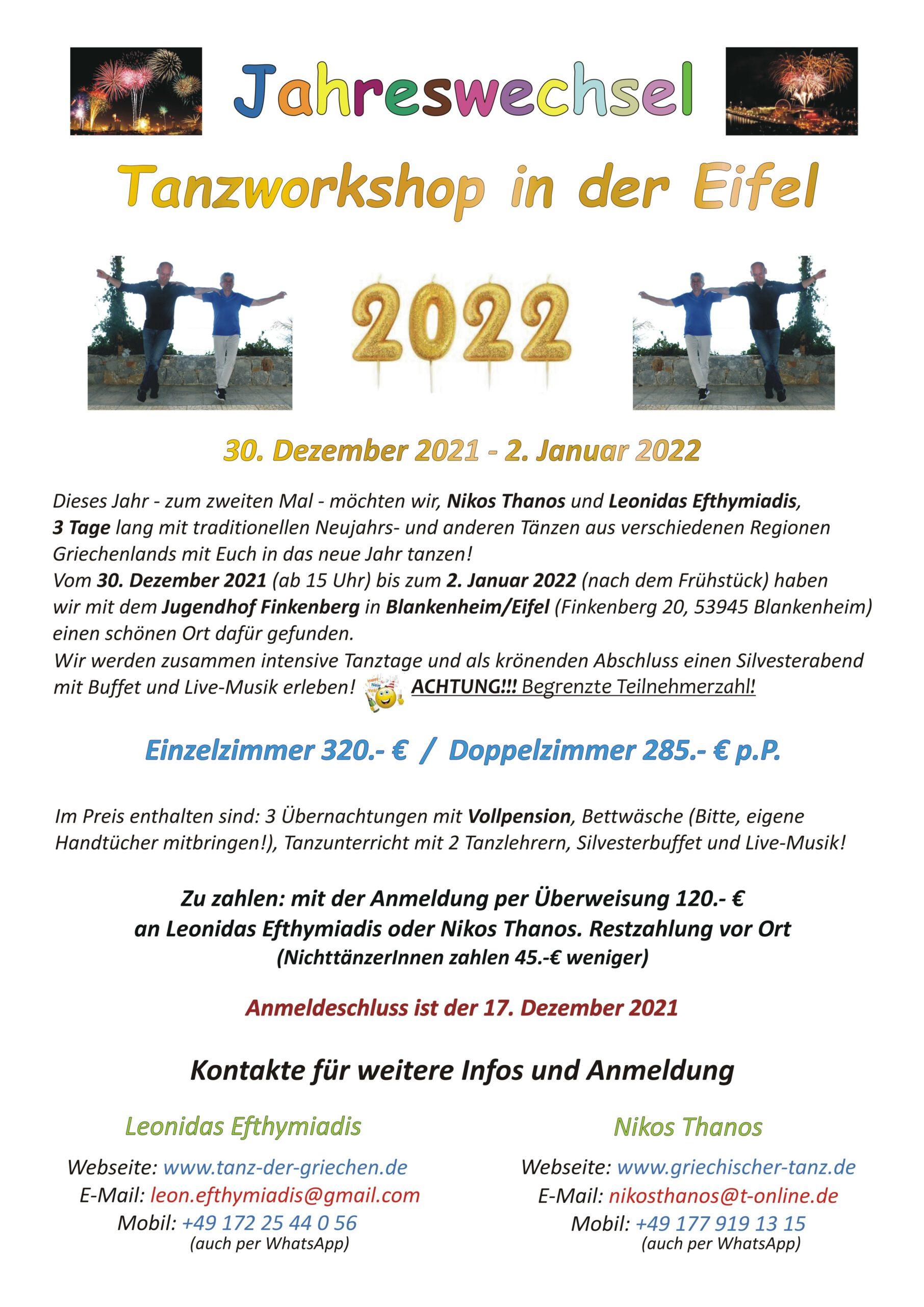 Jahreswechsel-Tanzworkshop in Eifel - 2021-22