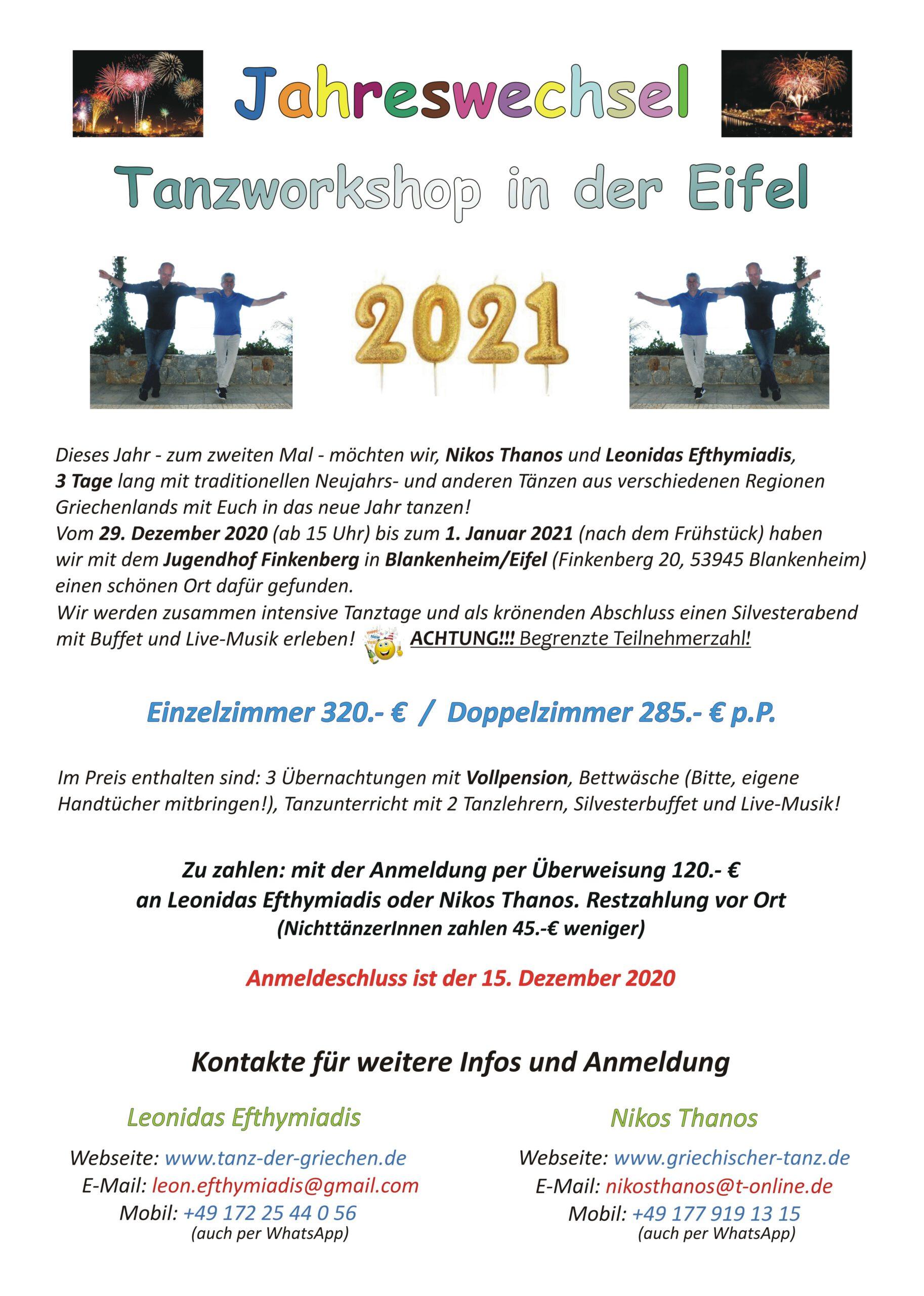 Jahreswechsel-Tanzworkshop 2020/21